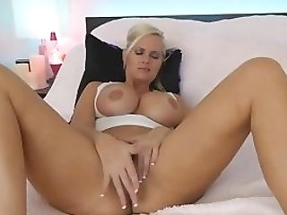Ginormous Tits Blonde Stunner Finger Fucks Her Honeypot