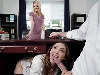 Steamy Assistant Gives Chief A Blow-job Under The Table