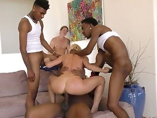 Platinum-blonde Bitch Alexis Fawx Goes Wild With A Few Black And Milky Dudes