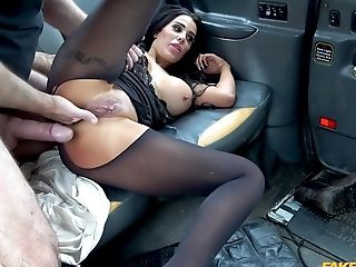 Gorgeous Honey Lies Down On Backseat For A Faux Cab Fuck