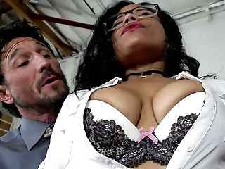 Big-chested Black Cougar Lady In The Office Boned Hard By Milky Stud