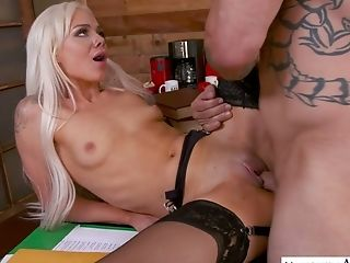 Stunning Provocative Blondie Elsa Jean Lures Her Man To Be Fucked On Table