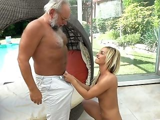 Platinum-blonde Chick With Jummy Tits Angelina Julie Hooks Up With One Old Fart