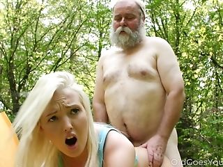 Old Mushroom Picker Bumped Into Beautiful Youthful Blonde In The Forest