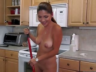 Sexy Cleaning Nymph Camila Casey With Big Natural Breasts And