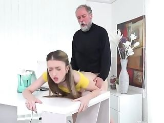 Petite Chick With Little Tits Is Having Gonzo Lovemaking With An Elderly Dude, Just For Joy