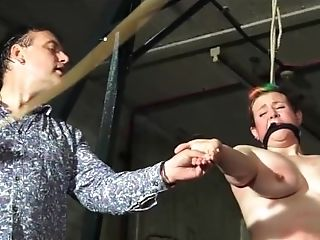 Tit Whipping And Hard Caning Of Ginger-haired Unexperienced Sadism & Masochism Fuck Toy Bunny In Rigid