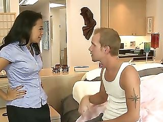 Beautiful Asian Woman Lucky Starr Undress Everything But Stockings To Let Sonny Hicks Fuck Her