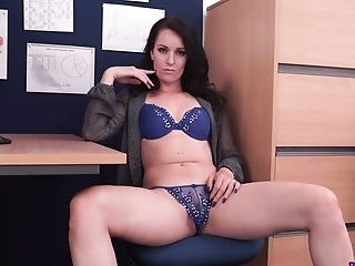 All Alone Office Mega-slut Jasmine Lau Is Ready To Flash Her Meaty Vulva For You