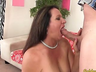 Older Dark Haired Leylani Wood Fellates And Fucks Till Spunk Packs Her Mouth
