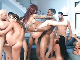 Massive Orgy Crammed With Pretty Sex Industry Stars And Big Manhood Guys